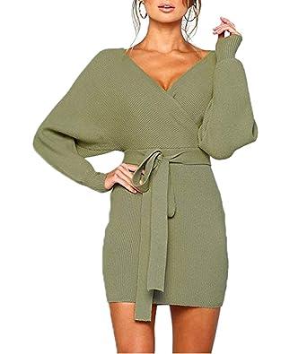 051d12dddf3 Mansy Women s Sexy Cocktail Batwing Long Sleeve Backless Mock Wrap Knit  Sweater Mini Dress Green