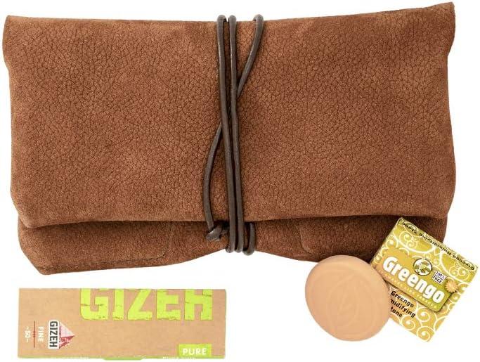 Bolsa de Tabaco de Cuero COMARI | Bolsillo para Papel y filtros | Papel de Liar Gizeh y Piedra humidificadora Greengo Gratis (Marrón Coñac)