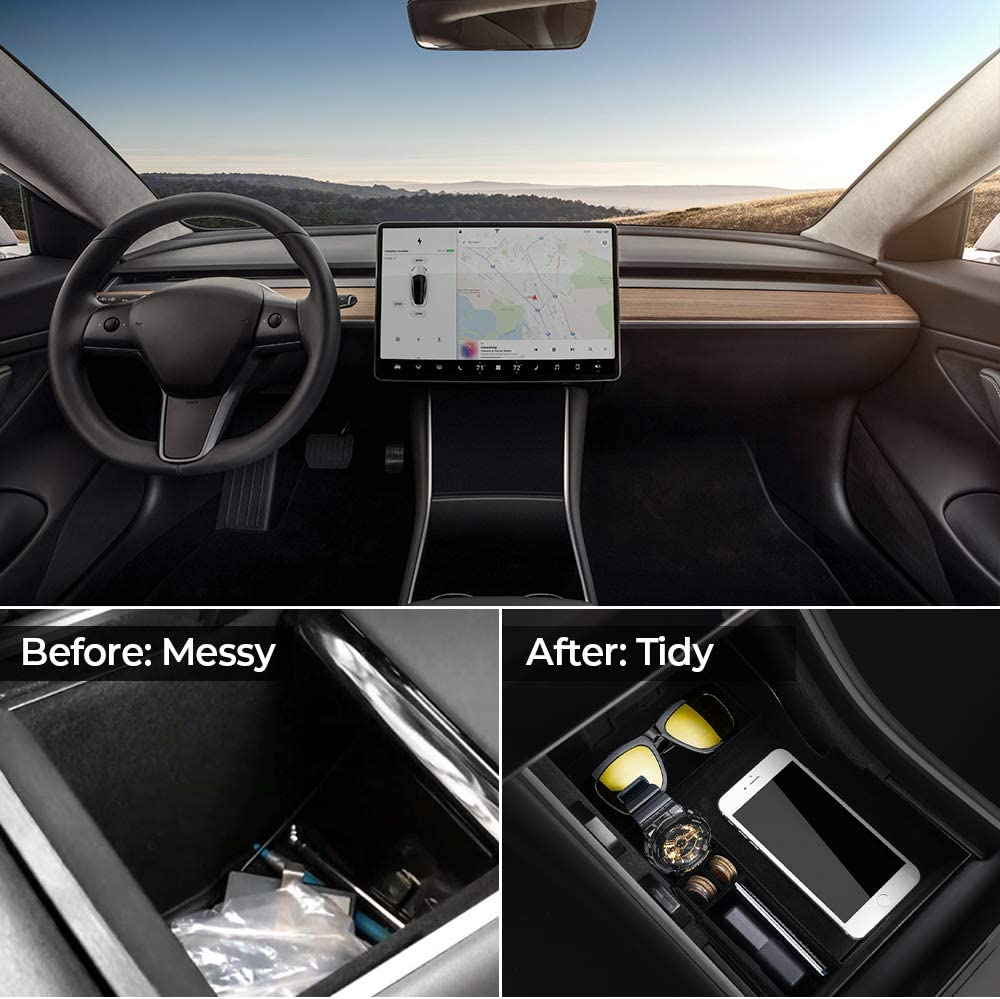 BougeRV Model 3 Center Console Organizer Tray Flocking Center Console Tray Upgraded Accessories for Tesla Model 3 2017 2018 2019