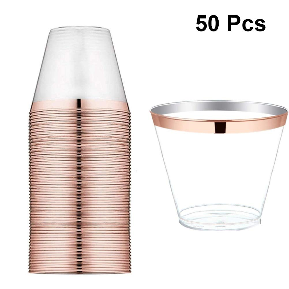 Gold plastic cups - 50pcs Disposable Plastic Cups Rose Gold Rimmed 9oz Transparent Cups Tableware for Wedding Birthday Parties