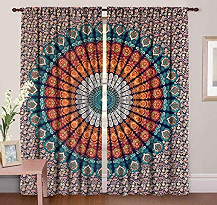 Peacock Mandala Window Curtains Drape Balcony Room Decor Curtain Indian Tapestry Home, Furniture & Diy