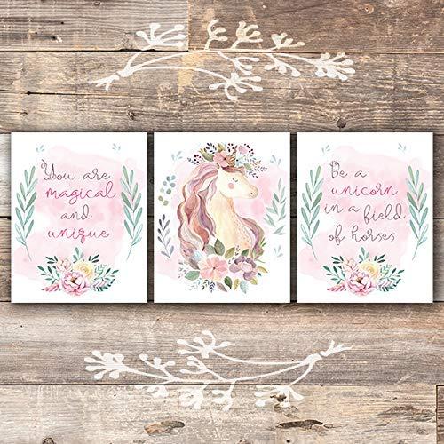 Unicorn Wall Art Prints (Set of 3) - Unframed - 8x10s | Girls Room Decor (Be A Unicorn In A Field Of Horses)