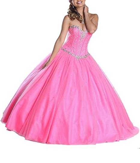 Dearta Womens Ball Gown Sweetheart Corset Floor-Length Quinceanera Dresses UK 4