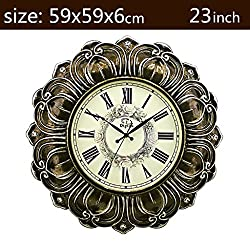 Royal-23 inches Watches and clocks European-style living room wall clock Mute creative clock Art large pocket watch Resin Quartz clock