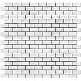 Carrara White Italian (Bianco Carrara) Marble Mini Brick Mosaic Tile, Polished