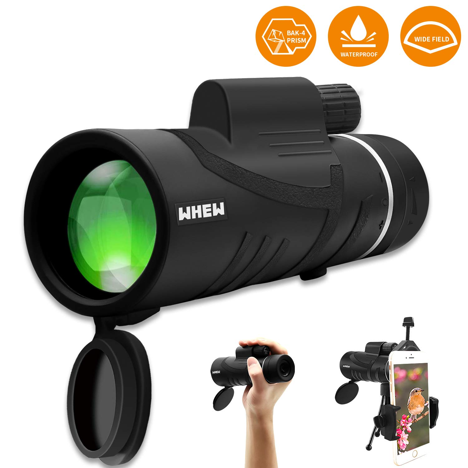Whew Monocular Telescope,12x42 High Power Compact Scope with Smartphone Adapter and Tripod,Low Night Vision Waterproof HD BAK4 Prism FMC Monoculars for Hunting Bird Watching Camping Outdoor Sporting