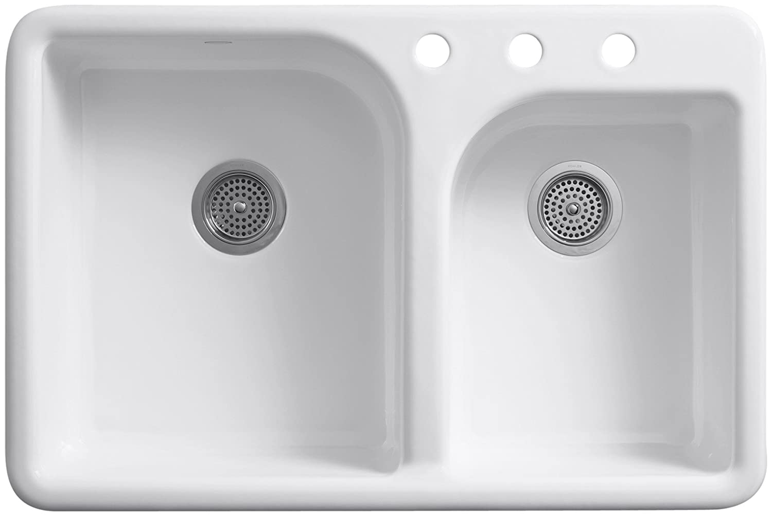 KOHLER K-5948-3-0 Efficiency Self-Rimming Kitchen Sink, White