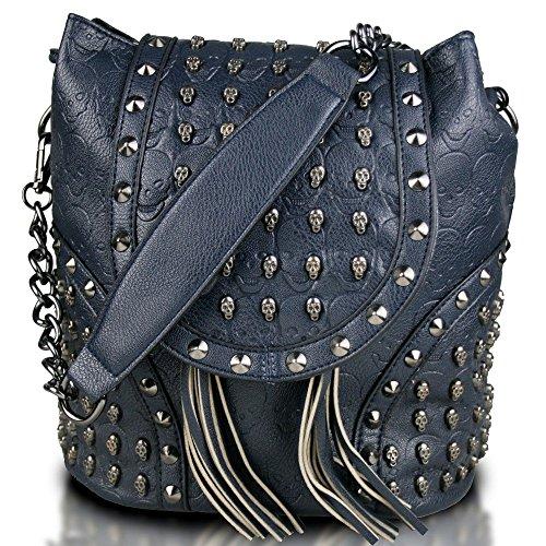 Miss Lulu - Bolso mochila de cuero de imitación para mujer Azul azul marino azul marino