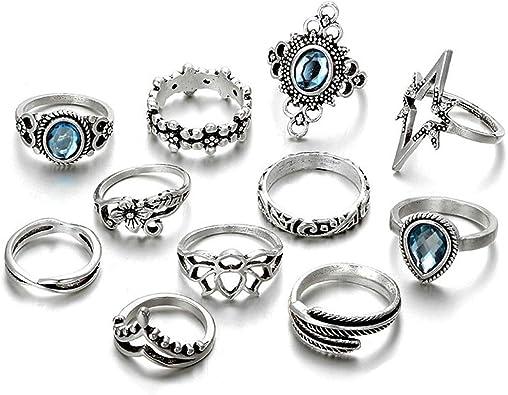 11pcs//Set Women Boho Vintage Silve Rhinestone Crystal Midi Knuckle Rings Jewelry