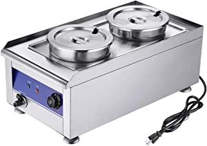 Yescom 1200W Commercial Food Warmer with Dual 7L Pots Stainless Steel Countertop Steam Table Soup Restaurant Buffet