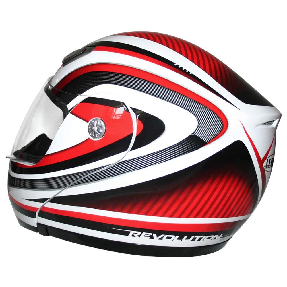 White XXL Leopard LEO-717 Flip up Front Motorbike Helmet - Motorcycle ECE 2205 Approved 63-64cm