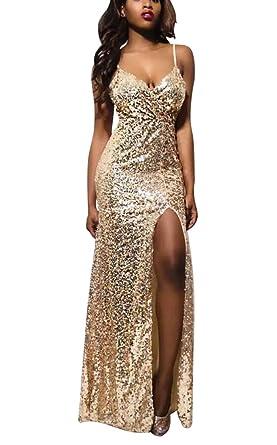 BININBOX Elegant Damen Pailletten Split Wickelkleid Maxikleid Trägerkleid  Cocktail Abendkleid S Gold 83e17c7452