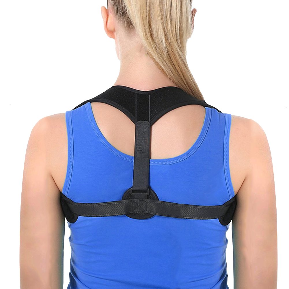 Posture Corrector for Men & Women, Effective and Comfortable Adjustable Clavicle Support, Chest Support Back Brace Device for Improve Thoracic Kyphosis - Upper Back and Neck Pain Relief