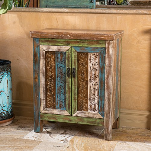 leo solid wood 2door cabinet in antique weathered multicolor style