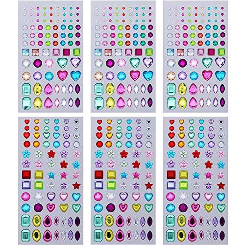 MAMUNU 6 Sheets Self-Adhesive Rhinestone Stickers Stick-on Crystal Gem Sheets for DIY Crafts Decoration Face Nails