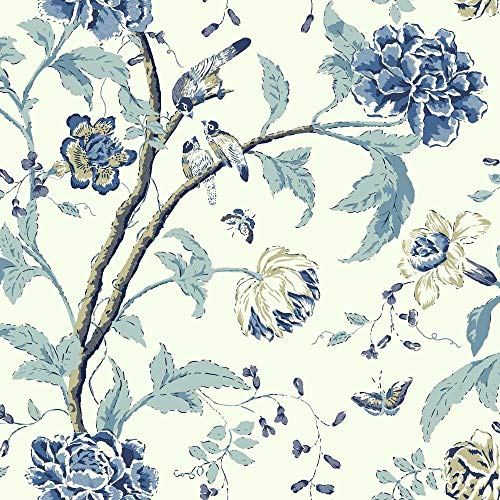 - York Wallcoverings Cobalt Blues Teahouse Floral Removable Wallpaper, Greens