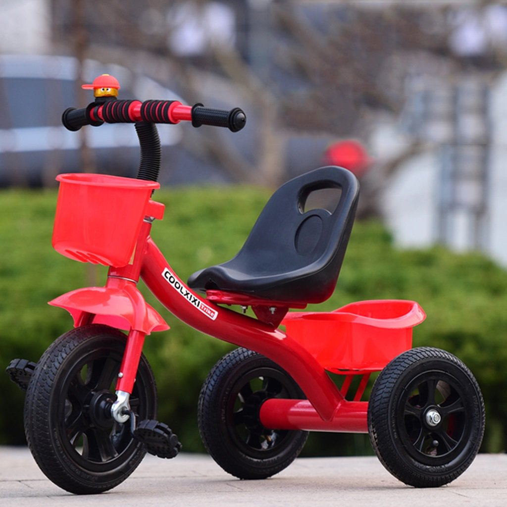 HAIZHEN マウンテンバイク 子供の三輪車ピンク/青/赤/白自転車1-5歳のインフレータブルホイールブレーキなしのバスケット付きプッシュハンドルなしベビーベビーカー 新生児 B07DL9LNMC赤