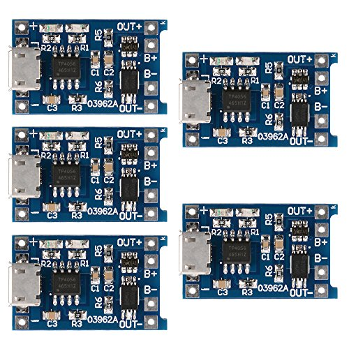 XCSOURCE 5 pcs 1A 5V Micro USB TP4056 Charger Board Module for Lithium Battery Power ()