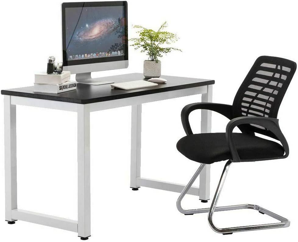 NDGDGA Simple Computer Desk, 47 inch PC Laptop Writing Study Table, Gaming Computer Table, Workstation Wood Desktop Metal Frame, Modern Home Office Furniture (Black, 47.2 x 23.6 x 29.1 inches)