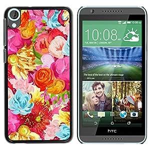 Paccase / SLIM PC / Aliminium Casa Carcasa Funda Case Cover para - Field Flowers Pattern Vibrant - HTC Desire 820