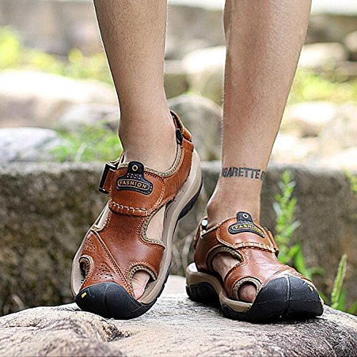 Summer Men's Leather Closed Toe Sandals Leisure Outdoor Sports Beach Shoes Trekking Shoes Brown 215gZq5k