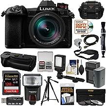 Panasonic Lumix DC-G9 4K Wi-Fi Digital Camera & 12-60mm f/2.8-4.0 Lens & DMW-BGG9 Grip + 128GB Card + Battery/Charger + Case + Flash + LED Light + Tripod Kit