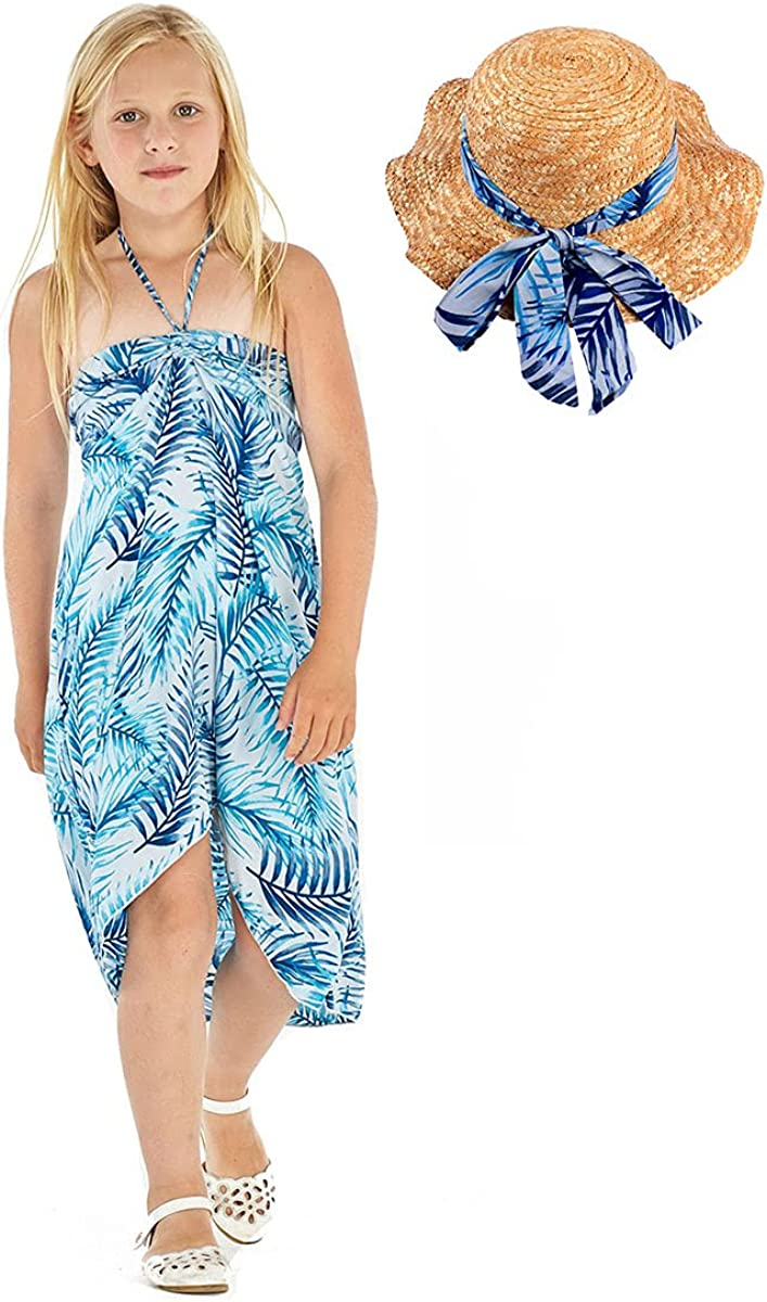 Girl Hawaiian Halter Dress Omaha Mall Palms Simply Blue in Some reservation