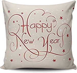 XIAFA Happy New Year Red Home Decoration Pillowcase 18X18 inch Square Stylish Design Throw Pillow Case Cushion Cover Double Sided Printed (Set of 1)