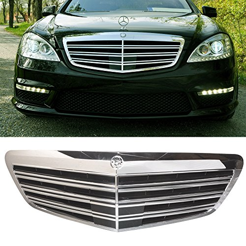 Grille Fits 2007-2013 Mercedes Benz W221 S-Class | AMG Style ABS Black & ChromeFront Bumper Hood Grill by IKON MOTORSPORTS | 2008 2009 2010 2011 2012