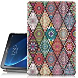 Hocase Galaxy Tab A 10.1 (SM-T580) Case 2016 Release, PU Leather Case w/Flower Design, Tri-Fold Stand Feature, Hard Back Cover for Galaxy Tab A 10.1' 2016 (NO S Pen Version) - Mandala Flowers