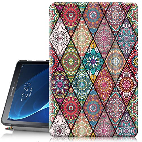Hocase Galaxy Tab A 10.1 SM-T580/T585 (2016) Case, PU Leather Case w/Flower Design, Auto Sleep/Wake Feature, Hard Back Cover for Samsung Galaxy Tab A 10.1-Inch NO S Pen Version - Mandala Flowers