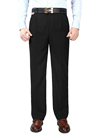 Mens Black Business Trousers Anti Wrinkle Double Front Pleated 30
