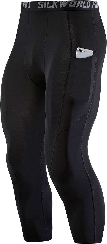 SILKWORLD Men's Compression Pants Pockets Capri Athletic Running Tights