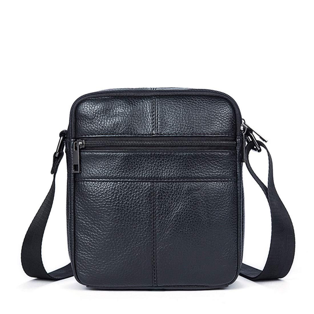 Color : Black XIAMEND Mens Messenger Shoulder Bag Retro Leather Briefcase Crossbody Day Bag