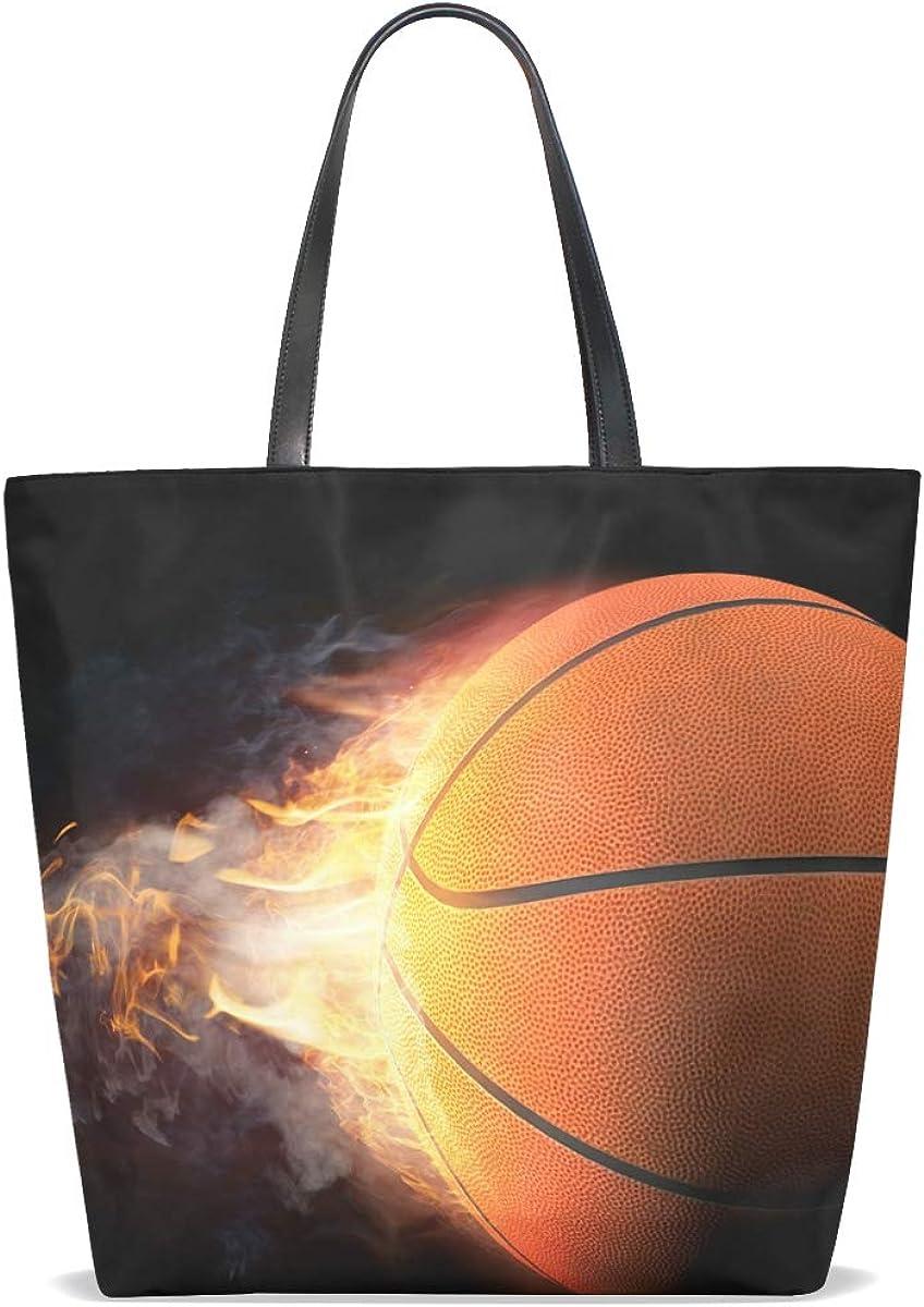Tote Bag Creative Leather Purse Handbag Crossbody for Women Basketball Fire Dark Vintage