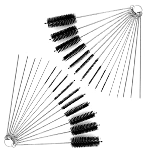 DanziX Nylon Tube Brush Cleaner, 2 Sets of Pipe Cleaning Brush Kit Total 30 PCS with Free Pouch for Drinking Straws Glasses Keyboards Jewelry - 20 Brushes+10 Needles