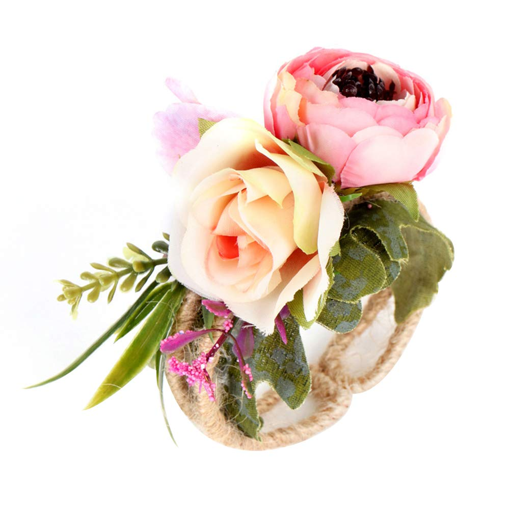 Dds5391 Refined Rural Style Wrist Corsage Bracelet Wedding Party Bridesmaid Sisters Hand Flower - Pink