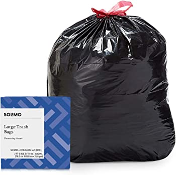 50 Count Solimo Amazon Brand Multipurpose Drawstring Trash Bags