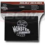 Monster Protectors Trading Card Double Deck Box with Self-Locking Magnetic Closure - Black (Fits Yugioh, Pokemon, Magic The G