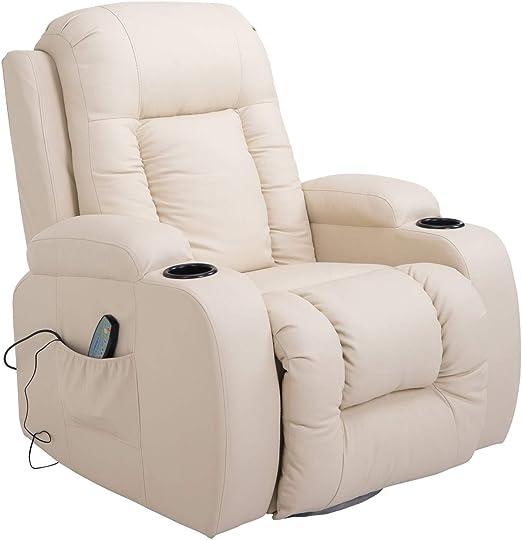 HOMCOM Massage Recliner Chair Heated Vibrating PU Leather Ergonomic Lounge 360 Degree Swivel with Remote Cream White