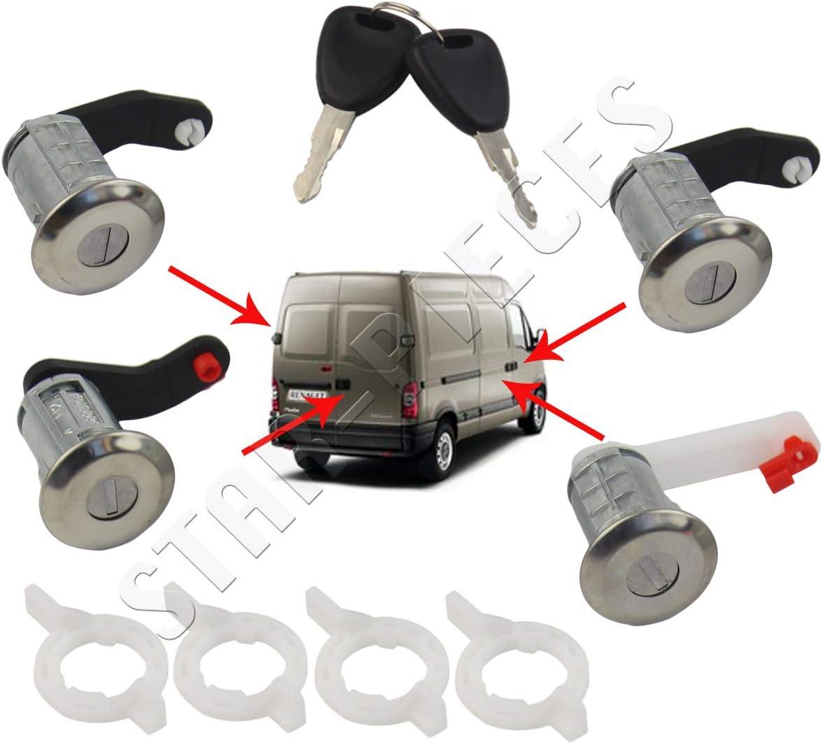 Kit Completo 4 barillets cerraduras de Puerta con Doble de Llave para Master 2 Mascott Movano A Interstar de 1998 à 2010