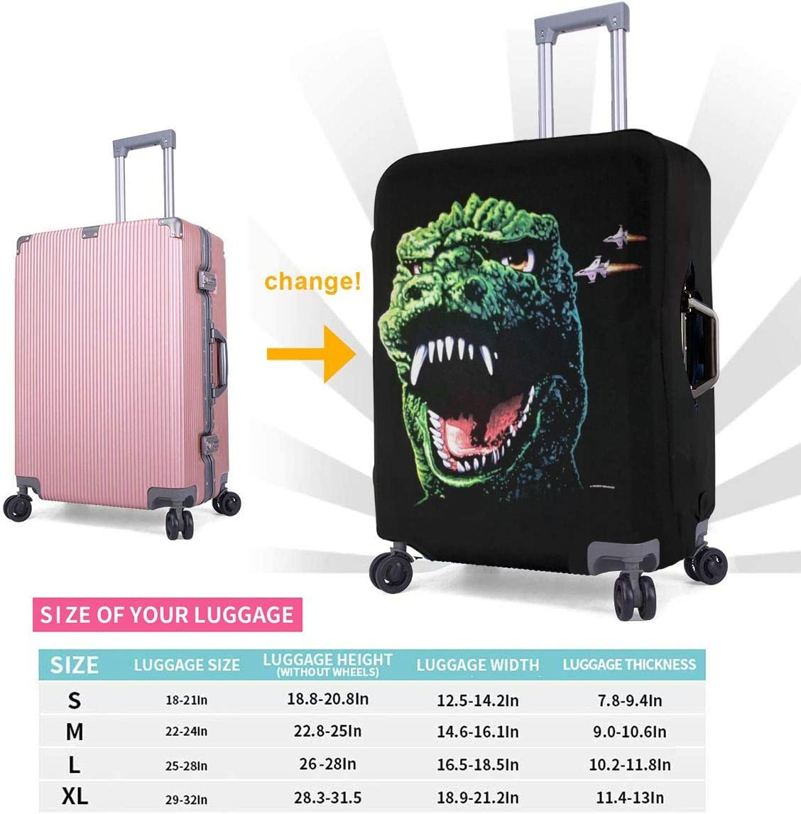 Vintage God-zilla 1994 Elastic Travel Luggage Cover,Double Print Fashion Washable Suitcase Protective Cover Fit For 18-32 Inch Luggage