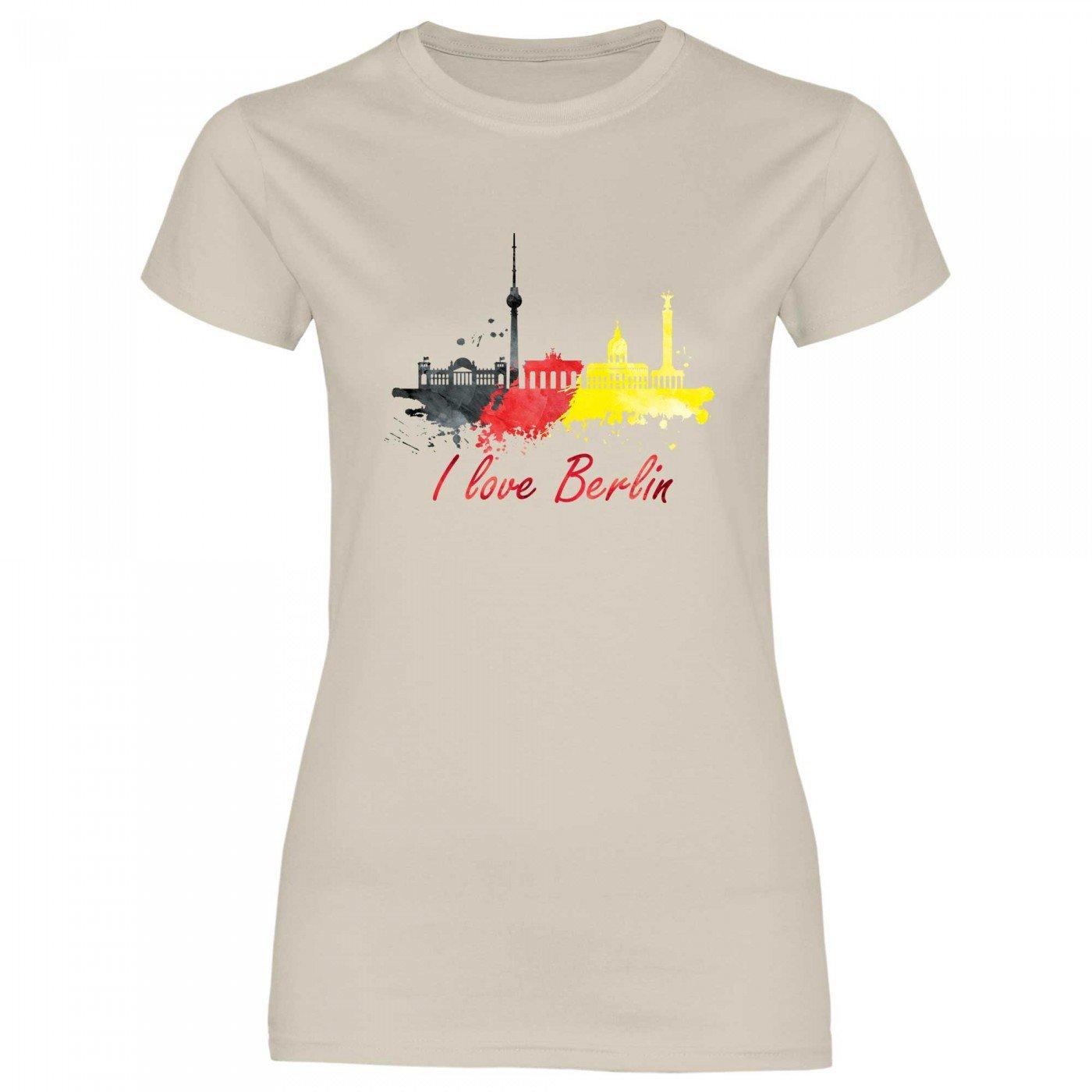 Royal Shirt rs105 Damen T-Shirt I love Dubai mit Fahne Arabische Emirate Flagge