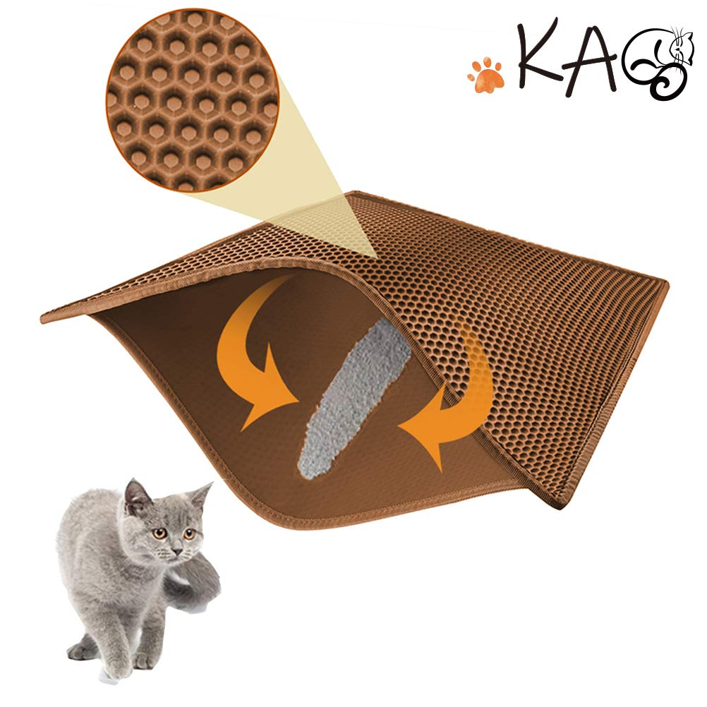 Brown 3024 brown 3024 KAG Cat Litter Mat Litter Trapper Large Size 30  X 24 , Honeycomb Double-Layer Design Waterproof Urine Proof Material, Easy Clean Scatter Control