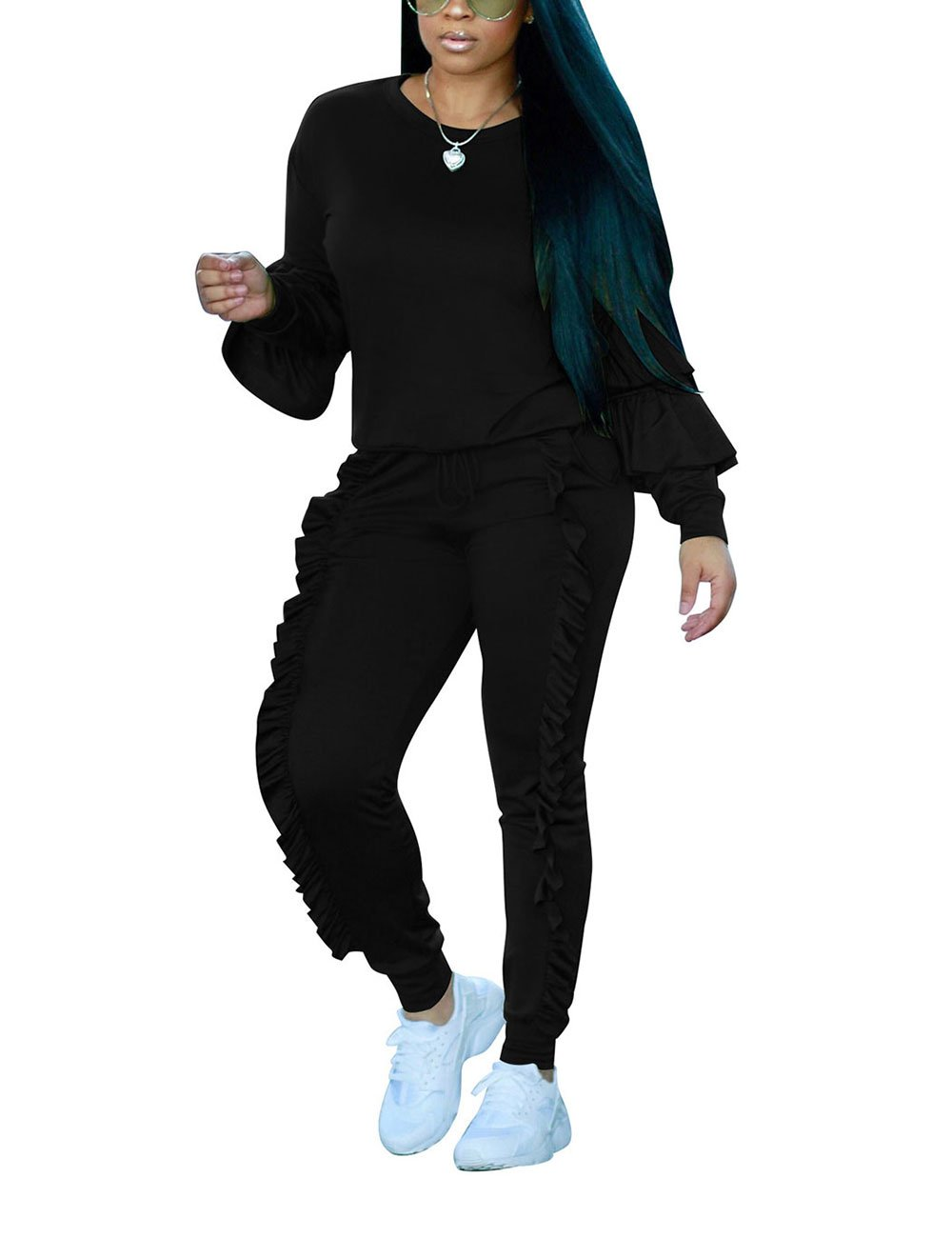 Fashion Two Piece Outfit Ruffle Suit Sweatsuit Tracksuit for Young Women,Black,X-Large/US14-16