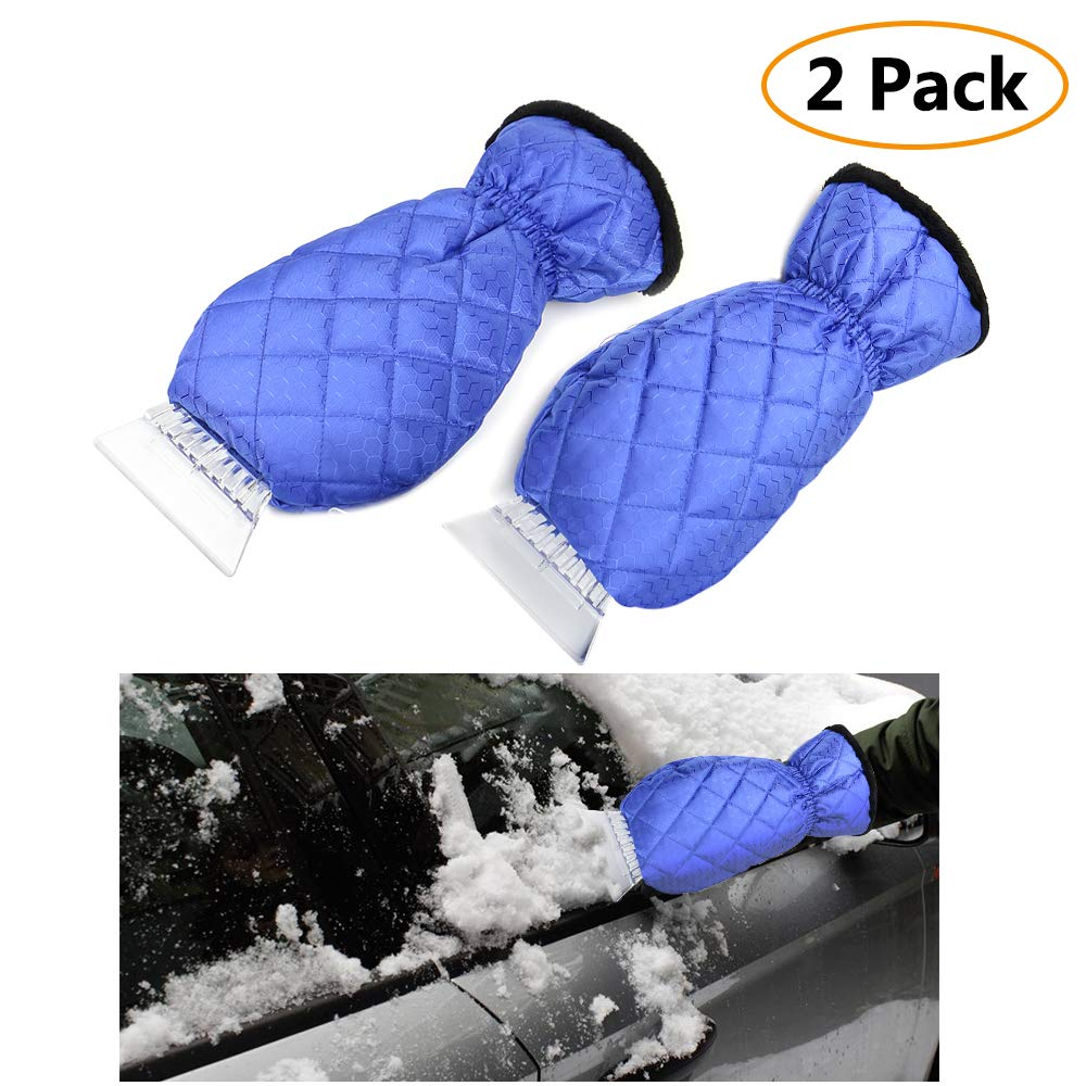 EZYKOO 2 Pack Ice Scraper Mitts Waterproof Snow Scraper Glove, Snow Ice Scraper for Car Truck-Blue Ecooltek