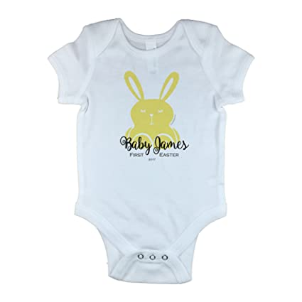 First 1st Easter Personalised Baby Grow Body Suit Vest Bunny Rabbit Egg Boy Gift