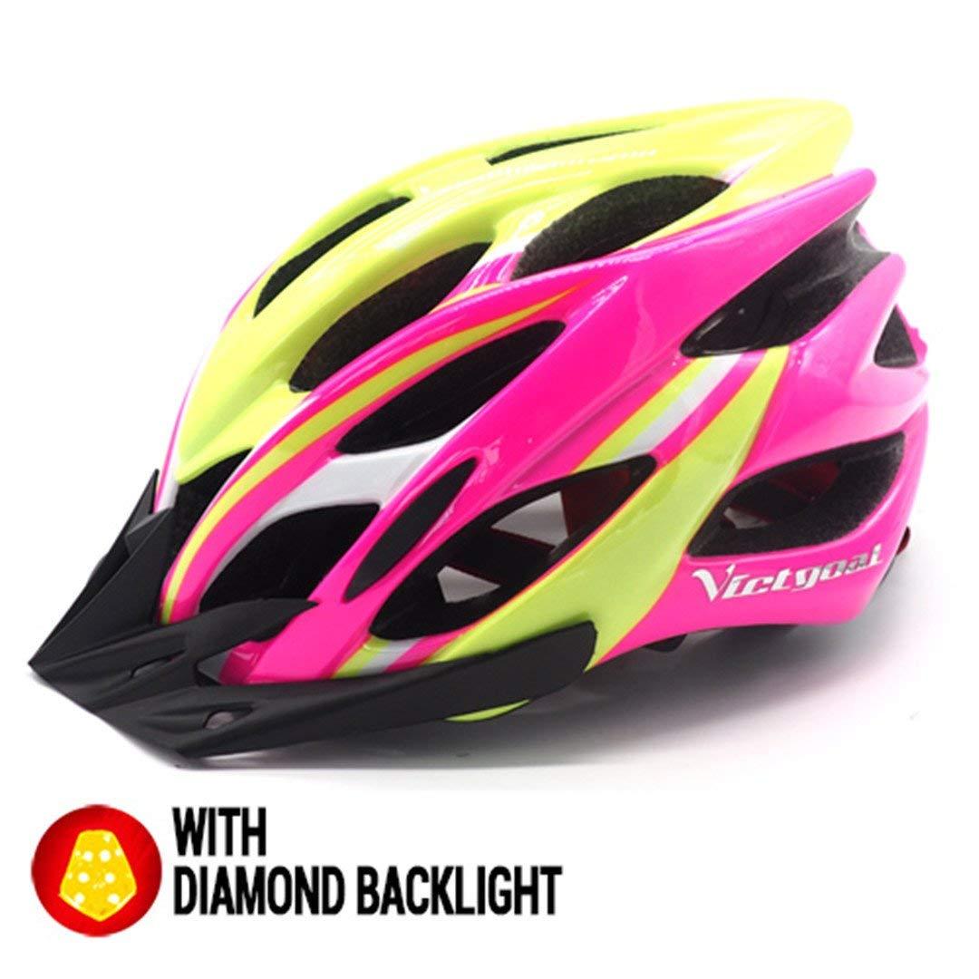 サイクリング自転車用ヘルメット 自転車ヘルメットサンバイザーバックライト男性女性 安全なサイクリングmtbマウンテンロードバイクライト付き スポーツ用保護ヘルメット (色 : PinkYellow Helmet) B07MSDVS97