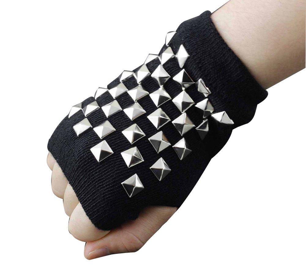 Women's Cotton Metal Rivet Punk Studs Motorcycle Fingerless Half Finger Gloves by crystalonly (Image #2)