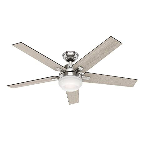 Hunter Apex 54 Contemporary Design in Brushed Nickel Ceiling Fan with White Frosted Glass Cased Led, Features 5 Reversible Grey Walnut Blades and Reversible Motor, Handheld Remote Control Included